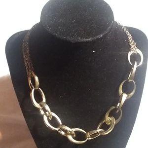 Alfani gold link frontal necklace